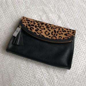 Express Leopard and black clutch envelope purse.